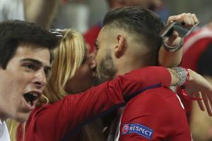 Carrasco celebrates equalizer with a kiss