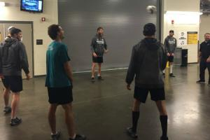 Watch: Sharks' warmup stalled by soccer snafu