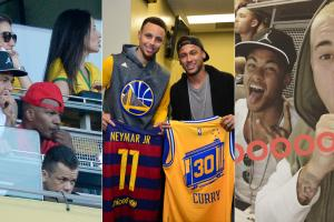 Neymar with Jamie Foxx, Stephen Curry and Justin Bieber
