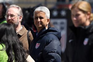U.S. Soccer president Sunil Gulati and women's national team manager Jill Ellis