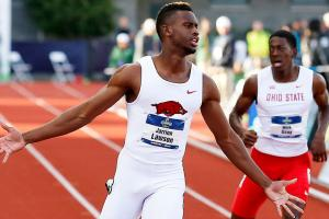 Jarrion Lawson matches Jesse Owens's NCAA triple