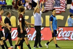 Jurgen Klinsmann celebrates the USA's win over Paraguay at Copa America