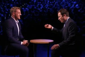 JJ Watt and Jimmy Fallon smash eggs on their faces