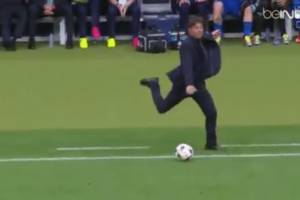 Italy manager Antonio Conte angrily boots ball