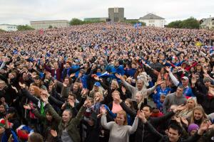 Iceland fans celebrate after win over England