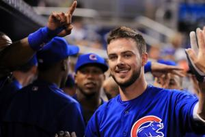 Young fan very excited to receive Kris Bryant card