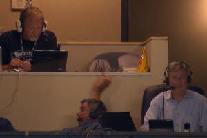 Pirates announcer takes a tumble in the booth