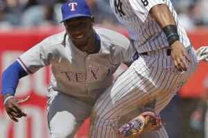 Watch: Profar tagged Hicks right in the crotch