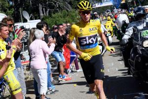 Chris Froome runs after Tour de France bike crash