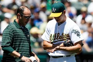 Athletics' Rich Hill removed after five pitches
