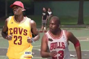 Pogba played basketball in a full LeBron uniform