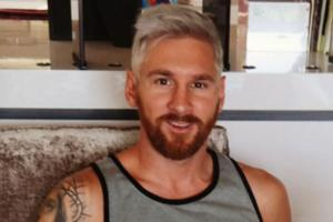 Look, Lionel Messi has blonde hair now