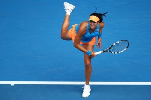 Garbine Muguruza serves in her third round match against Caroline Wozniacki during day six of the 2014 Australian Open in January 2014.