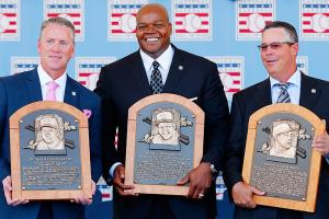 From left to to right: Tom Glavine, Frank Thomas, Greg Maddux were enshrined Sunday in the Baseball Hall of Fame