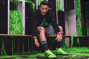 Mesut Ozil with Adidas' laceless cleats.