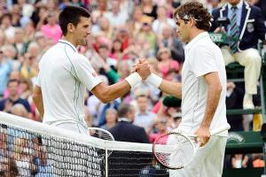 Novak Djokovic (left) and Roger Federer have met only one other time at Wimbledon, in 2012. Federer won their semifinal in four sets.