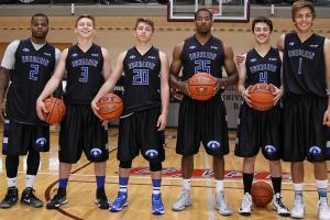 The unlikely squad featured ex-college players Velton Jones (No. 2) and Nick Christian (No. 25) plus friends Joe Oster, Craigen Oster, Jacob Hirschmann and would-be mascot Aeneas Koosis (left to right).