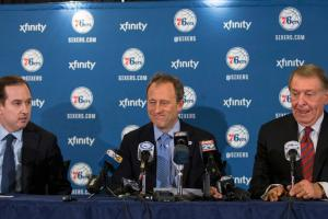 Jerry Colangelo (far right) will help Sam Hinkie (far left) with personnel decisions for the struggling 76ers.