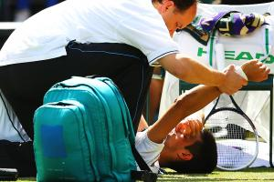 Novak Djokovic fell hard on his left shoulder, and was forced to take an immediate medical time out in the third set of his third-round match against Gilles Simon.