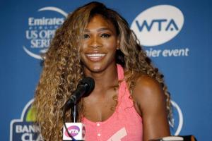 Serena Williams spoke with the media on Monday at the Bank of the West Classic in Stanford, Calif.