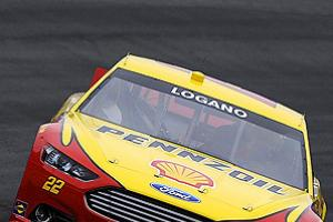 Joey Logano drives the #22 Shell/Pennzoil Ford for the first time at testing in Charlotte.
