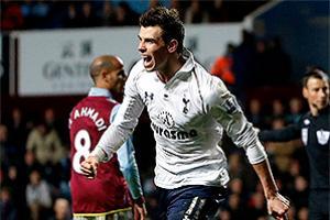 Tottenham Hotspur's Gareth Bale celebrates his third goal against Aston Villa.