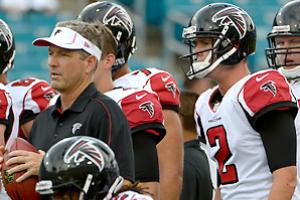 Behind Dirk Koetter (left), Matt Ryan posted a career season in every major statistical category in 2012.