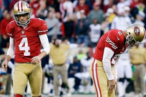 After missing 13 kicks in the regular season, David Akers (right) is just 1 of 2 in the playoffs.