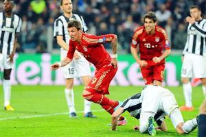 Bayern Munich's Mario Mandzukic celebrates his goal against Juventus on Wednesday.