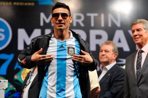 Sergio Martinez wore an Argentina soccer jersey during the weigh-in for his fight vs. Martin Murray.
