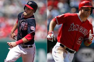 Bryce Harper (left) and Mike Trout both came to the majors to stay last April 28 and are already two of the game's best.