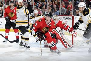 Chicago's speed and the loss of Gregory Campbell (11) pose potential problems for Boston.