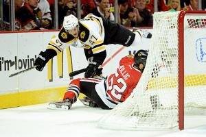 A single turnover can swing a game, as Boston's Torey Krug and Chicago's Brandon Bollig well know.