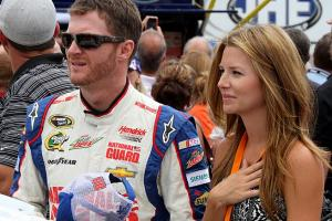 Dale Earnhardt Jr. and girlfriend Amy Reimann during the National Anthem at New Hampshire Speedway.