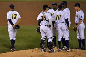 A-Rod (left) drew four walks and played seven innings at third base for Trenton on Saturday.