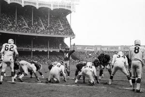 Nearly 63,000 fans attended the Nov. 24, 1963, game between the New York Giants and St. Louis Cardinals at Yankee Stadium.