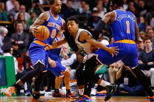 J.R. Smith didn't attempt a shot until there was 5:16 left in the Knicks' latest loss to Boston .