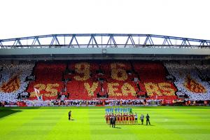 Liverpool fans in the Kop End displayed a stunning tribute to the 96 victims of the Hillsborough tragedy prior to Sunday's match vs. Manchester City.