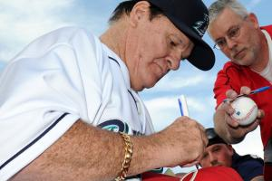 Pete Rose was the manager of the independent league Bridgeport Bluefish for one game on Monday.
