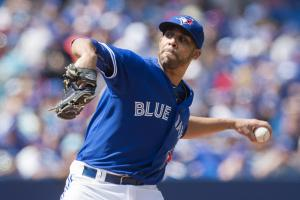 Toronto Blue Jays' starting pitcher David Price works against the Baltimore Orioles during first inning of a baseball game in Toronto, Saturday, Sept. 5, 2015. (Darren Calabrese/The Canadian Press via AP) MANDATORY CREDIT