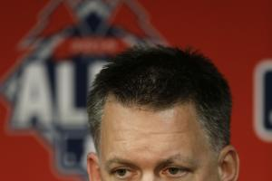 Houston Astros manager A.J. Hinch listens to a question during a news conference at Kauffman Stadium in Kansas City, Mo., Wednesday, Oct. 7, 2015. The Astros face the Kansas City Royals in Game 1 of the ALDS Thursday in Kansas City. (AP Photo/Orlin Wagner