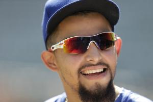 Texas Rangers' Rougned Odor waits to hit during an American League Division Series baseball practice, Saturday, Oct. 10, 2015, in Arlington, Texas. The Rangers will face the Toronto Blue Jays in game 3 Sunday. (AP Photo/Eric Gay)
