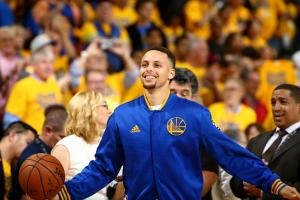 OAKLAND, CA - JUNE 2:  Stephen Curry #30 of the Golden State Warriors warms up before the game against the Cleveland Cavaliers in Game One of the 2016 NBA Finals on June 2, 2016 at ORACLE Arena in Oakland, California. (Photo by Nathaniel S. Butler/NBAE vi
