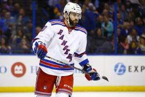 FILE - In this Feb 25, 2016  file photo, New York Rangers Keith Yandle is seen during an NHL hockey game against the St. Louis Blues in St. Louis.  With the salary cap expected to remain flat, the Toronto Maple Leafs and Florida Panthers were opportunisti
