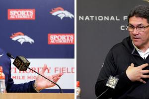 FILE - At left, in a Jan. 17, 2016, file photo, Denver Broncos head coach Gary Kubiak talks during a news conference after an NFL football divisional playoff game against the Pittsburgh Steelers, in Denver. At right, in a Jan. 20, 2016, file photo, Caroli