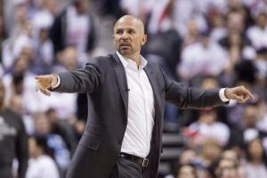 Brooklyn Nets coach Jason Kidd gestures during Game 1 of an opening-round NBA basketball playoff series against the Toronto Raptors, in Toronto on Saturday, April 19, 2014. The Nets won 94-87. (AP Photo/The Canadian Press, Chris Young)