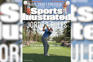 Jordan Spieth reacts to his Masters-winning SI cover