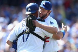 Dodgers celebrate win with running man, giant bag of po...