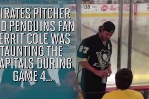 Gerrit Cole told to stop banging on glass at Penguins g...
