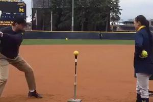 Jim Harbaugh hits a homer and dabs like no one's watchi...